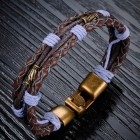 Стильный браслет из жгутов фиолетового и коричневого цветов