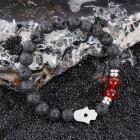 Браслет черный из вулканической лавы