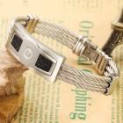Мужской браслет 19 см на тросах с плашкой и кожаными вставками