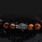 Стильный браслет на руку - шарики тигровый глаз с буддой