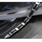 Браслет 20,5 см из стали в виде стальных скобок и каучука