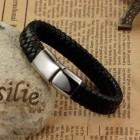 Браслет из плетеной кожи с стальным замком с магнитным фиксатором