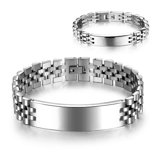 Качественный браслет в виде стальной пластинки и ремешка, как у наручных часов