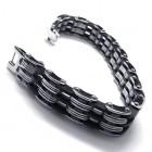 Браслет из стали и черного силикона длиной в виде цепи зубчатых механизмов