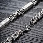 Мужская цепь на шею греческая змейка 55 см толщиной 6 мм