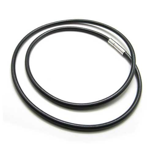 Гладкий шнурок-чокер 50 см из черного каучука на шею