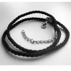 Шелковистый черный шнурок на шею 45 см