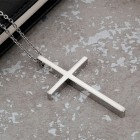 Кулон-крестик из ювелирной стали с цепочкой в комплекте