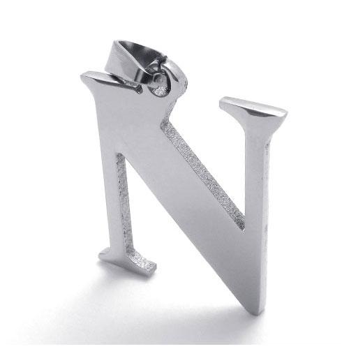 Буква N из стали с цепочкой 50 см
