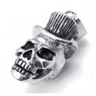 Стальной кулон череп в шляпе-цилиндре