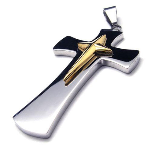 Кулон стальной крест с вставкой маленького золотого креста