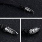 Стальной кулон-пуля с черным регулируемым шнурком