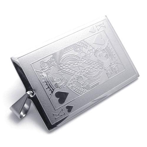 Стильный кулон атласные карты - масть король черви на шею для мужчин.