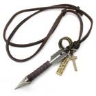 Кулон в виде стрелы, обмотанной полоской кожи с шнурком 78 см в комплекте