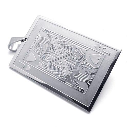 Медальон валет черви - кулон из стали на шею