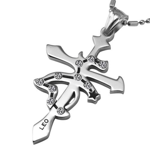 Кулон в виде крестика и созвездия льва со стразами
