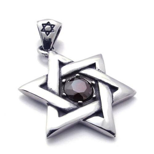 Кулон шестиконечная звезда с цирконом посередине