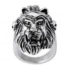 Стальное кольцо в виде головы льва с открытой пастью с перьями