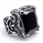 Мужской крупный перстень из стали и черным камнем