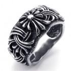 Стальное кольцо шириной 12 мм с завитками