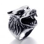 Кольцо волка с выступающей головой на 1,5 см