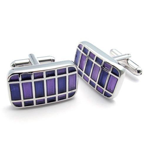 Мужские запонки фиолетовые прямоугольники